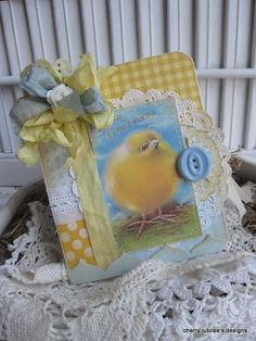 shabby chic baby chic EASTER GREETINGS stitched handmade card
