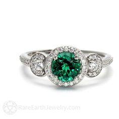 Emerald Engagement Ring Emerald Ring 3 Stone with Diamond Halo May Birthstone Green Gemstone 14K or 18K Gold – emerald-engagemen…