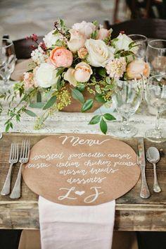 Ideias fofas para o menu do casamento