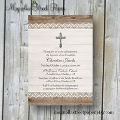 Printable Baptism Invitation, Printable Christening Invitation, Lace and Wood Invitation, Rustic Baptism Invite, Baby Boy/Baby Girl Baptism