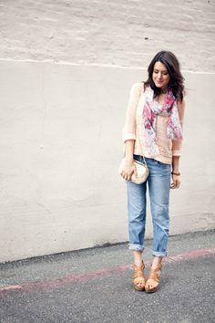 boyfriend jeans, blush slouchy sweater, pretty floral details!