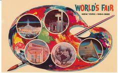 1964 - 1965 New York World's Fair.  Nice Mid-Century design postcard with an artist's palette of scenes.