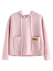 Pink Striped Textured Hooded Sweatshirt With Pocket