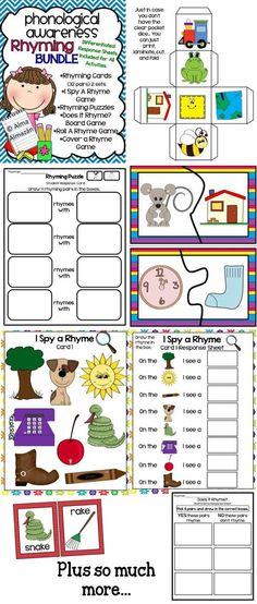 Word work to teach rhyming! Many activities included. Created by Alma Almazan by willie Kindergarten Literacy, Early Literacy, Preschool, Rhyming Activities, Classroom Activities, Word Work, Word Study, Speech And Language, Language Arts