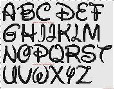 Alfabeto Disney 30x30 patron punto de cruz