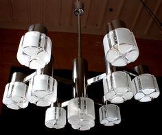 10 Lights SCIOLARI CUBIC ART Murano Glass Chandelier Brass Chromed 1970s  Mid Century By GRAFvonBRUECK On