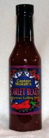 "Captain Mawatt's ""SCARLET BLAZE"" is the definitive grilling sauce. Pomegranate bite pursued by intimate heat. Use it to sop, mop, slather or marinade; before, during or after grilling chicken, beef, fish, tofu, pork or veggies."