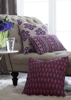 pretty purple pillows http://rstyle.me/n/smvfspdpe