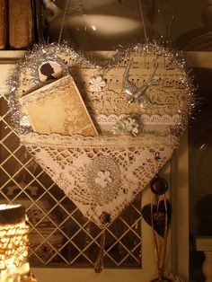 Vintage tinsel friendship heart made for a friend - lace, sheet music, sweet little silhouette, bird charm ... very pretty. With tinsel it would make a cute #handmade #Christmas #ornament - without it could make #shabby #chic #decor - #crafts #paper #mixed #media #heart - ≈√