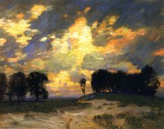 """The Bonfire,"" William Langson Lathrop, ca. 1921, oil on canvas, 25 x 30"", private collection."