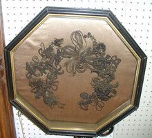 """An exceptional Victorian Hair Wreath in a Victorian octagonal frame. Frame measures 19.75"""" X 19.75"""" X 3.5"""" $600"""