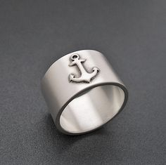 Anchor Ring - Satin Finish Sterling Silver Band - Nautical Ring via Etsy   $115