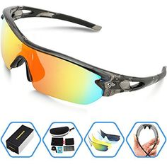 Torege Polarized Sports Sunglasses With 5 Interchangeable Lenes for Men Women Cycling Running Driving Fishing Golf Baseball Glasses TR002 (Transparent Gray&Rainbow lens) - http://www.exercisejoy.com/torege-polarized-sports-sunglasses-with-5-interchangeable-lenes-for-men-women-cycling-running-driving-fishing-golf-baseball-glasses-tr002-transparent-grayrainbow-lens/cycling/