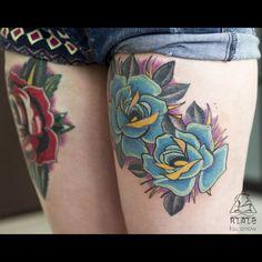 #tattoo #ink #ksuarrow #rtats #roses #traditional #hips #woman