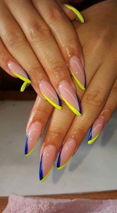 Nails nailswag acrylicnails yellow blue issavibe in pretty nail swag Matte Nail Art, Stiletto Nail Art, Cute Acrylic Nails, Neon Nail Art, Nail Swag, Dope Nails, My Nails, Glow Nails, Nails On Fleek