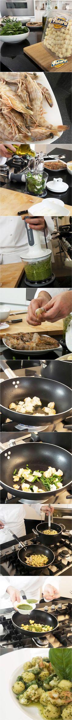 Gustosi gnocchetti di patate al Pesto Leggero, Fagiolini e Gamberi. Clicca per scoprire la videoricetta dello chef Stefano Cerveni. Buon appetito! #ricetta #gnocchi #patarognocchi