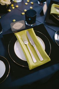 Wedding / Event Tablescape: Modern Navy and Citron