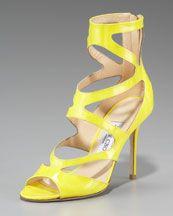 X12BJ Jimmy Choo Neon Zigzag Ankle-Wrap Sandal...Luv'n these Jimmy Choo's! :)