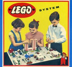 Lego's managing director Godtfred Kirk Christiansen's children on one of the first Lego boxes.