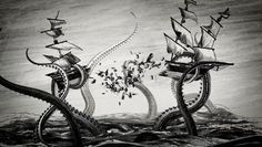 """The Kraken Black Spiced Rum"" pour l'agence new-yorkaise Dead As We Know It et le studio Adam Gault. Boat Drawing, Ship Drawing, Davy Jones, Kraken Rum, Kraken Squid, Release The Kraken, Clash Of The Titans, Octopus Art, Alien Creatures"