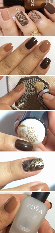 Gold on Brown | Easy DIY Matte Nails Design Ideas for 2017 | Awesome Fall Nails Ideas