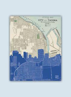 Tacoma Skyline, Tacoma Art Print, Tacoma Decor, Tacoma Poster, Tacoma Washington, Personalized Skyline Print, Tacoma Wall Art, Tacoma Map by GeographicArt on Etsy