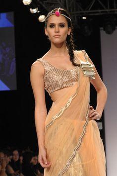 Blush tulle pearl embroidered saree worn with pita and moti work choli. #saree #sari #blouse #indian #outfit  #shaadi #bridal #fashion #style #desi #designer #wedding #gorgeous #beautiful