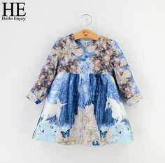 HE Hello Enjoy Girls Dress autumn Brand Girls clothes Fantasy Unicorn blue Print…