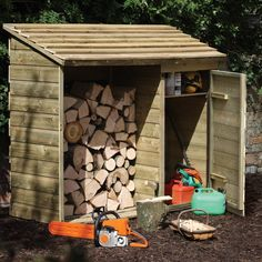 Forest Garden Wooden Log Store and Tool Storage Shed Wooden Storage Sheds, Diy Storage Shed Plans, Garden Tool Storage, Firewood Storage, Wooden Sheds, Diy Shed, Firewood Rack, Storage Ideas, Rv Storage