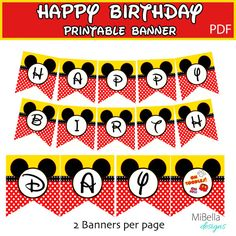 Mickey party ideas -Mickey Mouse banner Printable-Instant Download -DIY