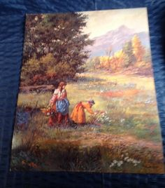 Vicente Roso Art Print ' Picking Flowers ' 1987 Saint Chateaux Galleries 16 x 20
