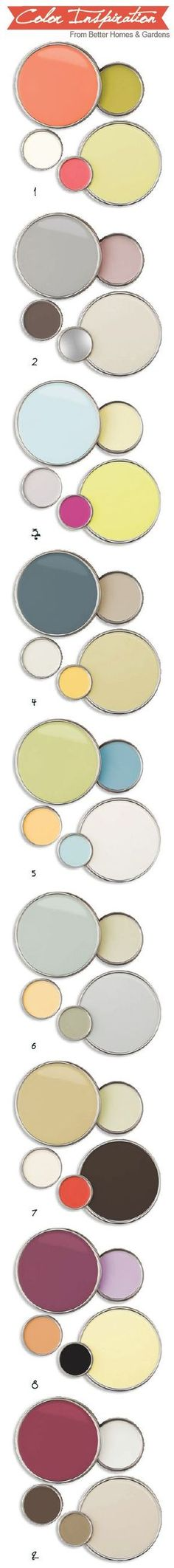 Better homes and gardens color palette inspirations. Great ideas for some unique nursery palettes.