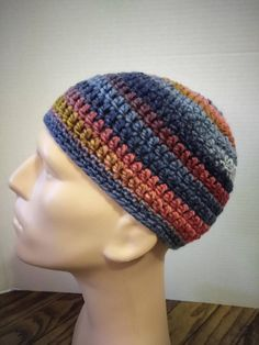 Blue, red, tan, and pink kufi beanie skullcap crochet large by Nadeerah on Etsy