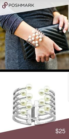 Silver Cluster Pearls Hinge Bangle Material content : 18k white Plated base metals, glass crystals, resin pearls T&J Designs Jewelry Bracelets