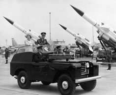 1968: To mark the 50th anniversary of the RAF, her majesty and the Duke of Edinburgh toured the Royal Air Force Base in Abingdon​, England. In this photo, they're driven past a collection of Bloodhound missiles.