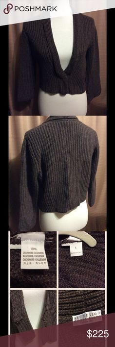 "BRUNELLO CUCINELLI Authentic 100% Cashmere short waist sweater, long sleeve, one hidden small button on waist. In great condition, no snags or loose fabric. Shoulders 15"" Bust 18"" Length from label down 16 1/2"" Sleeve shoulder down 18"" last photo shows the fabric. FIRM PRICE Brunello Cucinelli Sweaters"