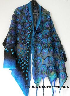 nuno felted silk scarf PEACOCK BLUE EYE shawl wrap, handmade art to wear, large scarf, silk wool scarf, Nuno felt Boho Fiber Art by Kantorysinska.  Nuno felted silk scarf PEACOCK BLUE EYE. It is extremely romantic and attractive. It demands attention from people around you. On a black background is stylized peacock eyes. It is created of gentle black silk chiffon and high quality Australian merino wool, decorated with shiny silk fibers. Light and delicate as a feather peacock will be a great…