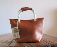 Hand Stitched Simple Leather Rope Handle Tote - Caramel Brown