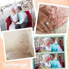 CONGRATULATIONS to my client @azaleas_meme. 💖 You look beautiful and I love your #carouselwedding theme  She is wearing the 2.25 carat art deco 3 band halo set  Shop now at 💖💍✨ TigerGems.com