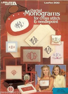"""CHARTED MONOGRAMS FOR  CROSS STITCH & NEEDLEPOINT   """"   printed 1981"""