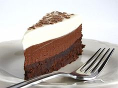 Chocolate Mousse Cake with dark, milk and white chocolate - decadent, rich and yet, still light...