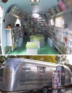 projet mobilivre (bookmobile project), '59 airstream, quebec