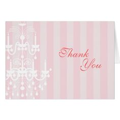 Chandelier Wedding Thank You Cards Pink & White Chandelier Striped Thank You Note Car Card