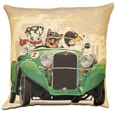 jacquard woven belgian tapestry cushion dalmatian, yorkshire terrier and jack russell in green oldtimer rally car