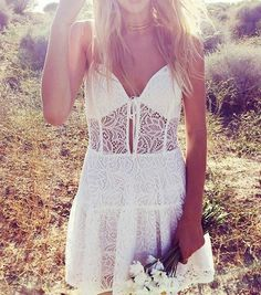 We'll admit it: Sunshine and summertime activities bring out your inner bohemian selves. Read on for the best boho clothing brands. Gypsy Style, Bohemian Style, Boho Chic, Hippie Style, Hippie Chic, White Lace Sundress, Boho Outfits, Fashion Outfits, Nice Outfits
