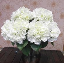 Best Selling Home Decoration Flowers Artificial Hydrangea Flower 5 Big Heads Bouquet Decor DIY Creamy white(China (Mainland))
