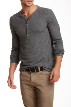 42dce40446baf8 Star USA By John Varvatos Long Sleeve Henley. This always beats baggie  sweats and hoodies