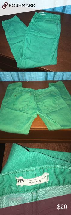 Free People jeans Reposh: Great condition green jeans. Size 29 but fit more like a 27-28 Free People Jeans Skinny