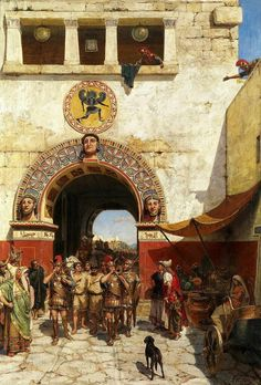 ROMAN: Alexander Svedomsky's beautiful painting, Returning with the Captives. Possibly portrays Roman prisoners of war being paraded through an Etruscan city gate, perhaps Veii. The Etruscan's are wearing classic Hellenic reinforced linothorax armour. Ancient Rome, Ancient Greece, Ancient Art, Rome History, Ancient History, Architecture Romaine, Alexandre Le Grand, Classical Antiquity, Roman Soldiers