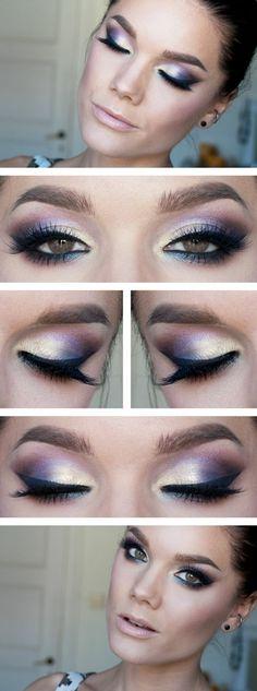 braune Augen schminken Lidschatten golden lila Glitzerpartikel Wimpern tuschen